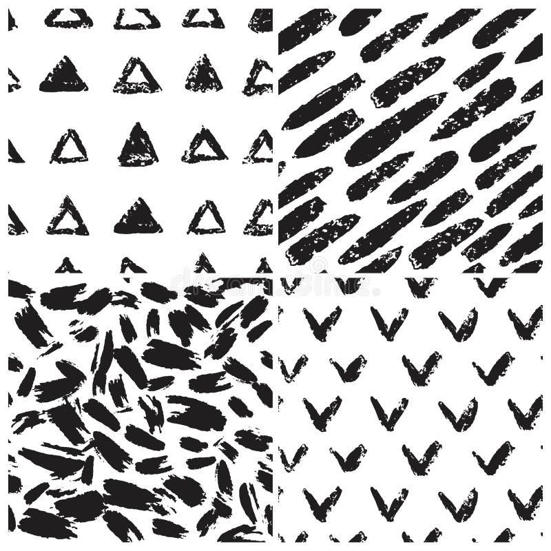 Набор гладких текстур grunge. Фигуры треугольника, флажок иллюстрация вектора