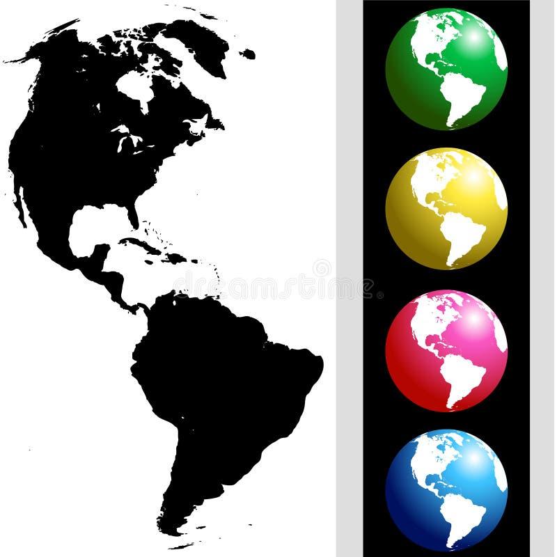 набор глобуса америки иллюстрация штока