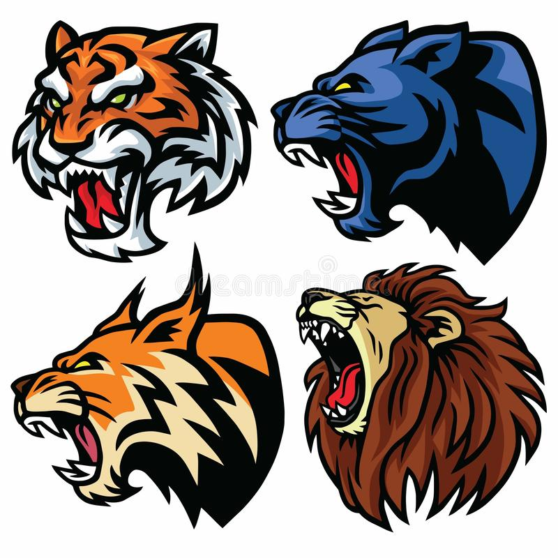 Набор голов диких животных Лев, тигр, ягуар, рысь - дизайн логотипа талисмана вектора иллюстрация штока