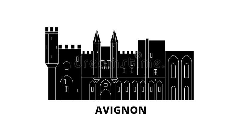 Набор горизонта перемещения ориентира Франции, Авиньона плоский Иллюстрация вектора города черноты ориентира Франции, Авиньона, с иллюстрация штока