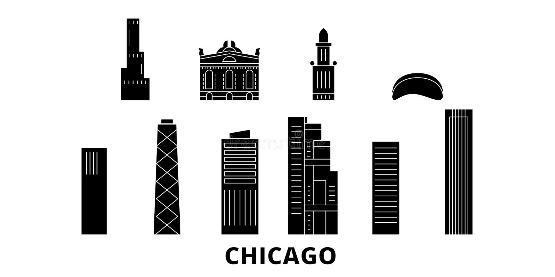 Набор горизонта перемещения Соединенных Штатов, Чикаго плоский Иллюстрация вектора города черноты Соединенных Штатов, Чикаго, сим бесплатная иллюстрация
