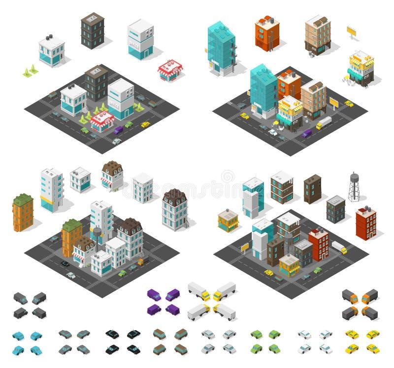 Набор города равновеликий Квартал инфраструктуры городского пейзажа Таунхаусы и улицы с автомобилями Городской низкий уровень пол иллюстрация штока