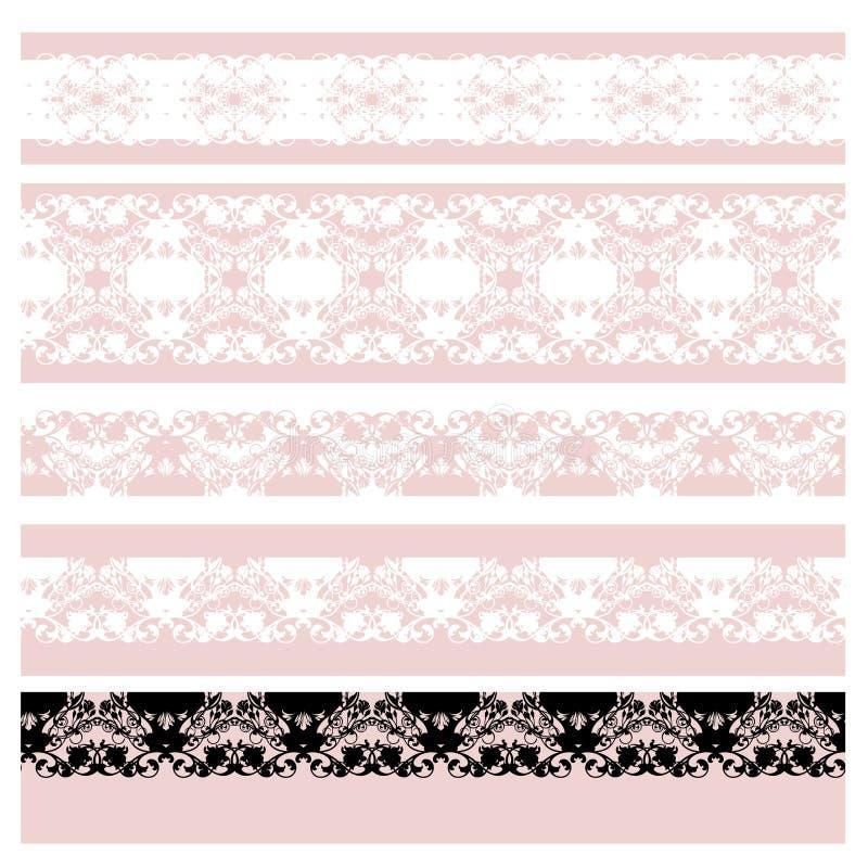 Набор границы вектора шнурка розового цветка безшовный бесплатная иллюстрация