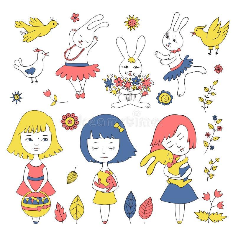 Набор девушки пасхи иллюстрация вектора