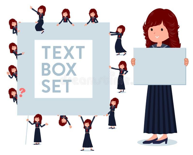Набор девушки школы Японии с доской для сообщений иллюстрация вектора
