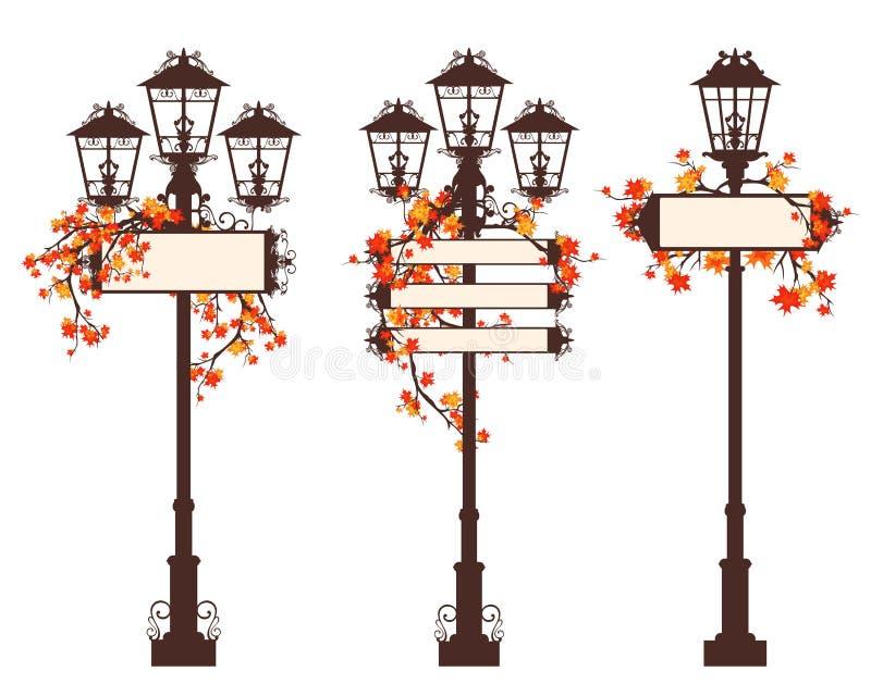 Набор дизайна вектора уличного света сезона осени иллюстрация штока