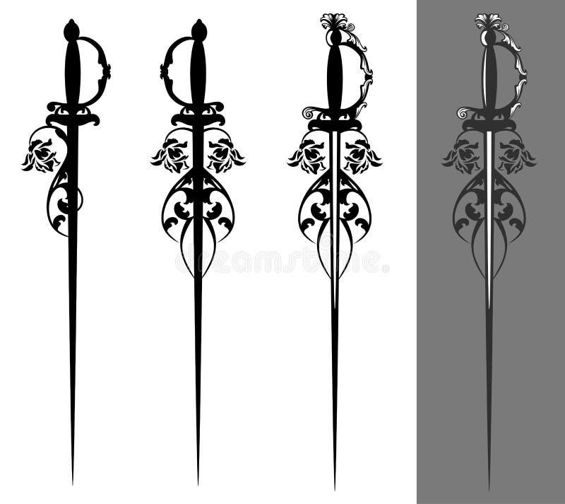 Набор дизайна вектора цветков шпаги и розы Epee иллюстрация вектора