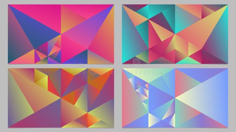 Набор дизайна предпосылки пестротканого геометрического динамического градиента триангулярный иллюстрация вектора