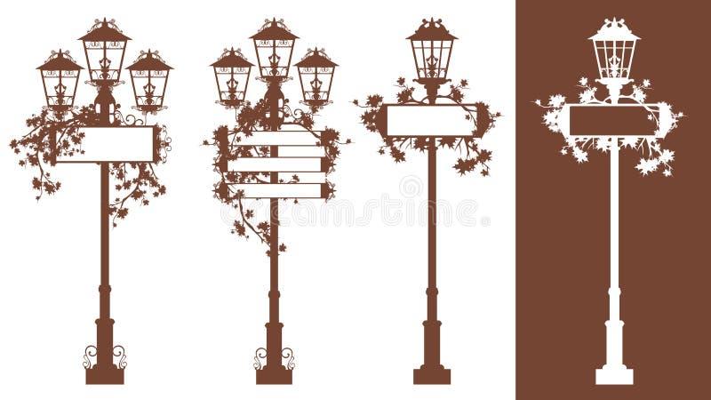 Набор дизайна силуэта вектора уличных светов сезона осени иллюстрация вектора