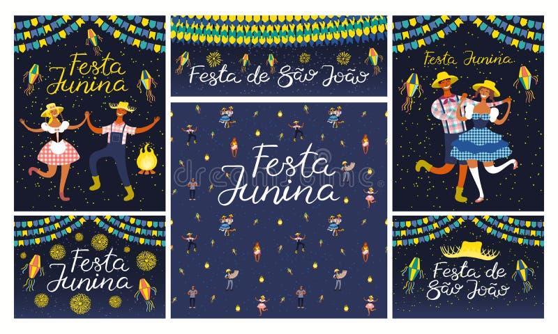 Набор дизайнов Festa Junina иллюстрация вектора