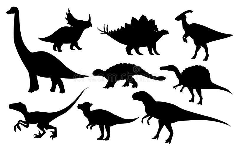 Набор динозавра мультфильма Милое собрание значка динозавров Черные хищники и растительноядные силуэта Плоская изолированная иллю иллюстрация вектора