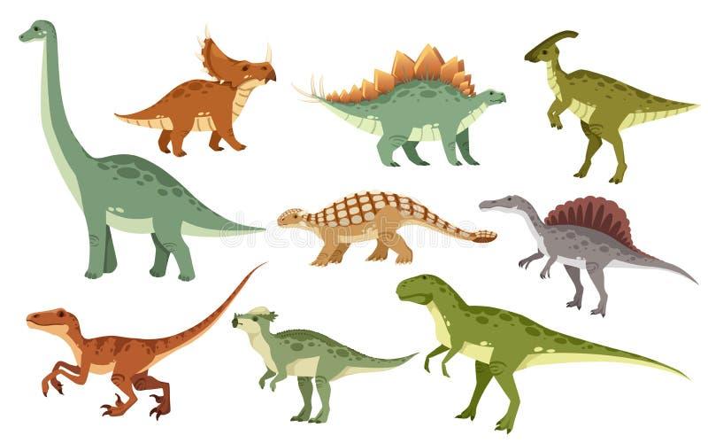 Набор динозавра мультфильма Милое собрание значка динозавров Покрашенные хищники и растительноядные Плоская иллюстрация изолирова иллюстрация вектора