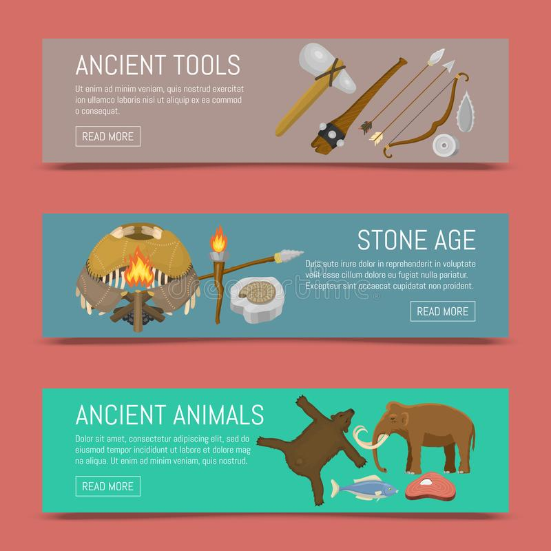 Набор доисторической жизни каменного века примитивный иллюстрации вектора знамен Старые инструменты и животные Охотиться оружия и иллюстрация вектора