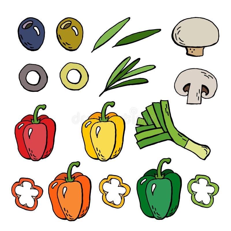 Набор еды овощей иллюстрация вектора