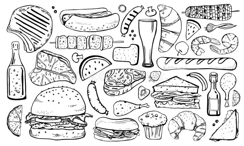 Набор еды пикника, гриля и барбекю Иллюстрация эскиза вектора руки пла бесплатная иллюстрация