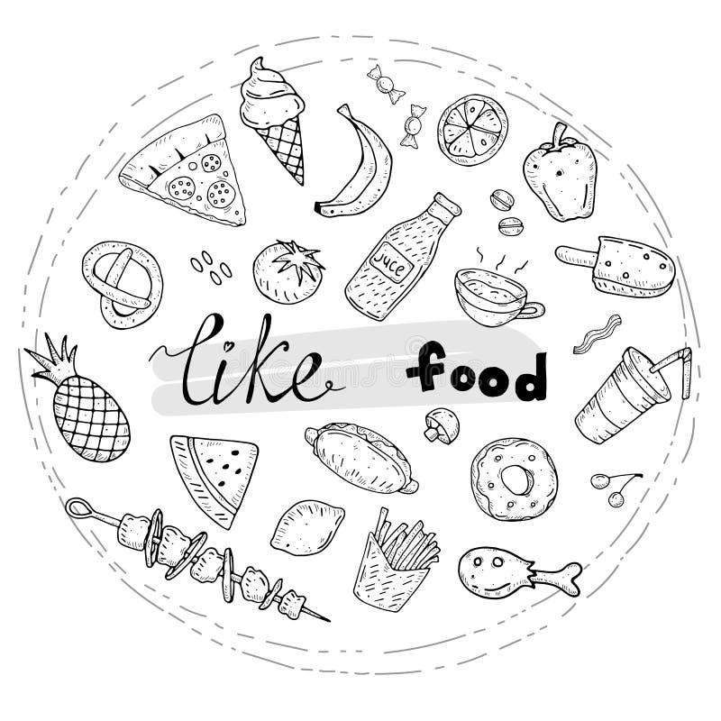 Набор еды doodle мультфильма с надписью и декоративными элементами r иллюстрация штока