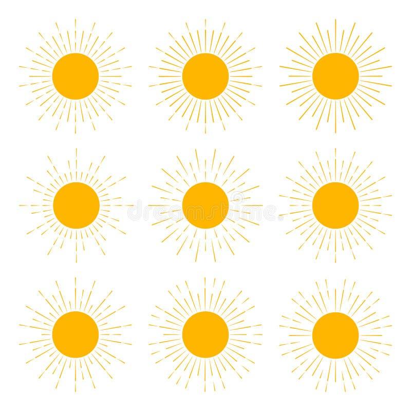 Набор желтых солнц с sunburst блеском лучей картины силуэтов солнца в ретро стиле r иллюстрация штока