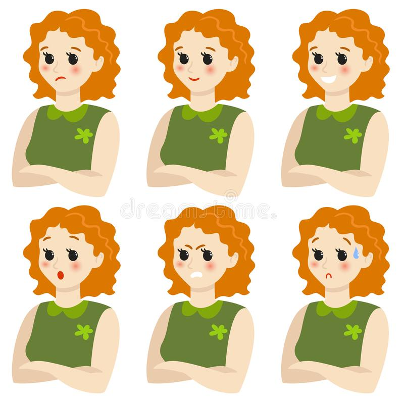 Набор женских эмоций gesture E иллюстрация вектора