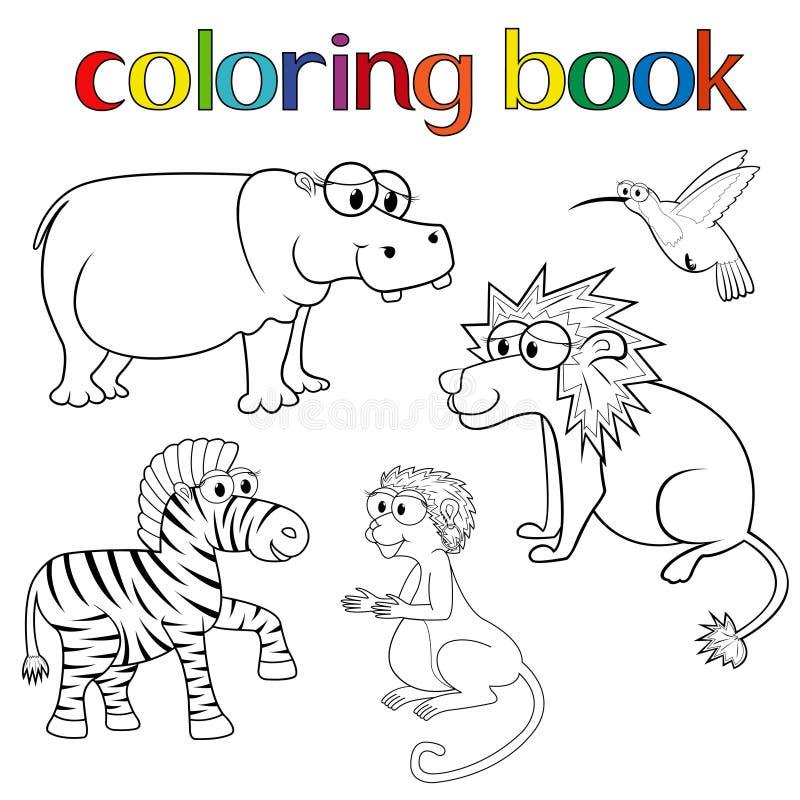 Набор животных для книжка-раскраски иллюстрация вектора