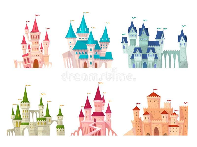 Набор замков Средневековой набор мультфильма цитадели ворот дворца особняка сказки башен замка укрепленный крепостью старый готич иллюстрация штока