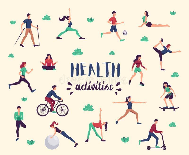 Набор здоровья спорта фитнеса иллюстрация штока