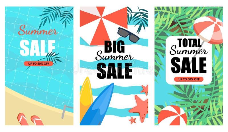 Набор знамени большой продажи лета вертикальный, плакат Promo иллюстрация штока