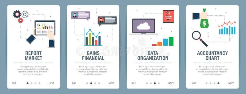 Набор знамени интернета значков отчета, бухгалтерского учёта и организации иллюстрация штока
