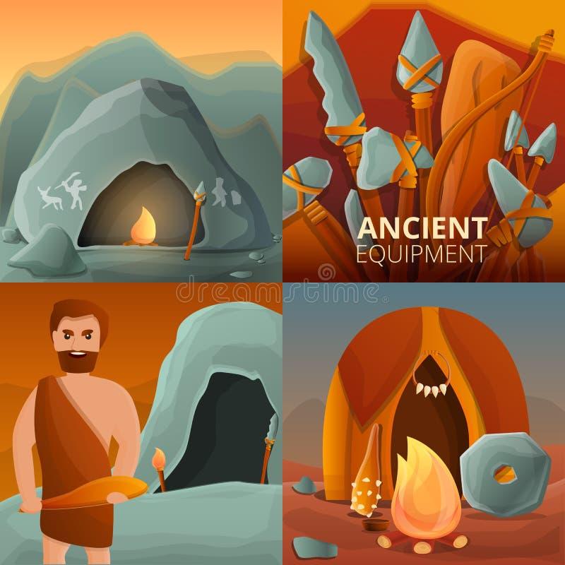 Набор знамени каменного века, стиль мультфильма иллюстрация штока
