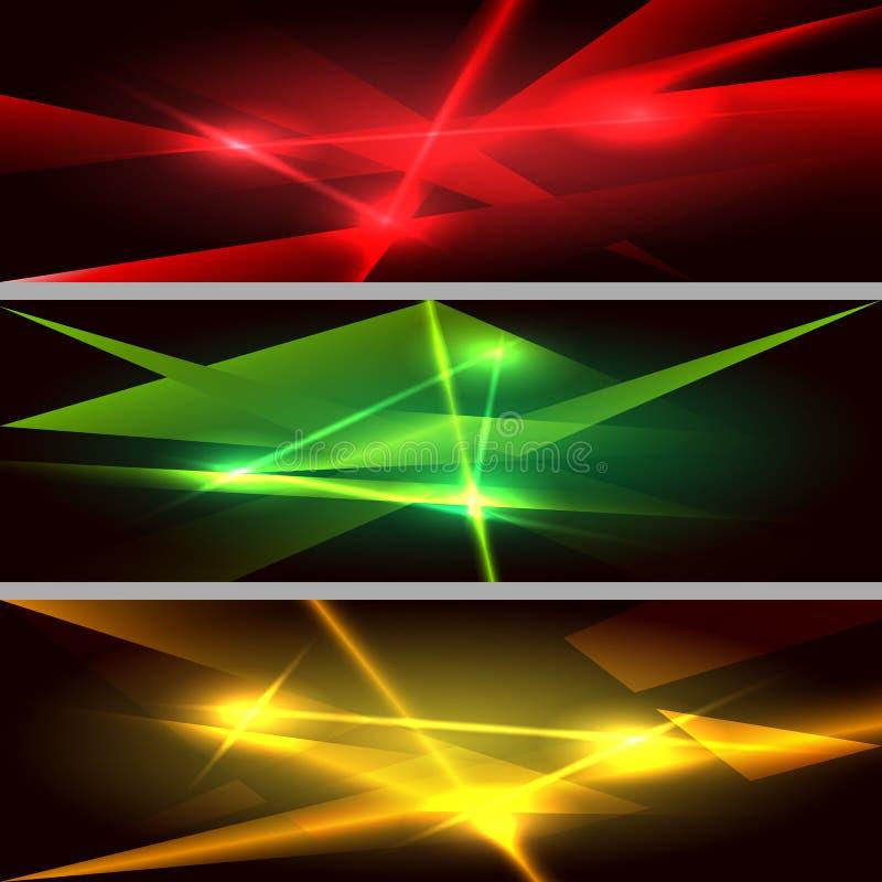 Набор знамени лазерных лучей горизонтальный иллюстрация штока