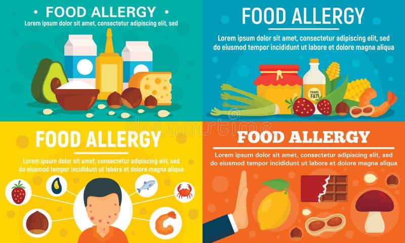 Набор знамени пищевой аллергии, плоский стиль иллюстрация вектора