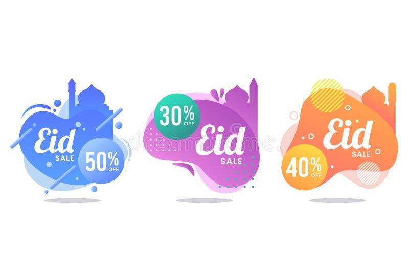 Набор знамени продажи Eid mubarak жидкостный стоковое изображение