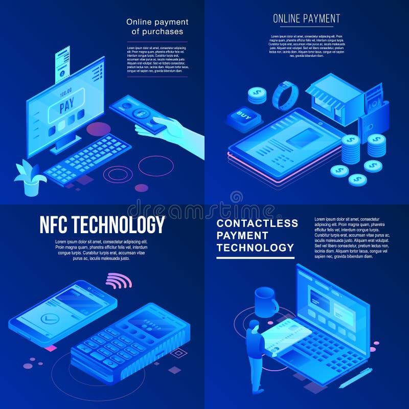 Набор знамени технологии Nfc, равновеликий стиль иллюстрация штока
