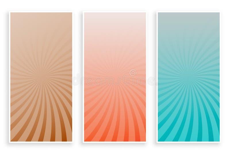 Набор знамен абстрактных лучей цветов sunburst бесплатная иллюстрация