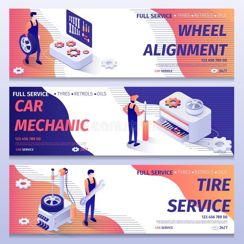 Набор знамен для ремонта и обслуживания автошины приспосабливая иллюстрация вектора