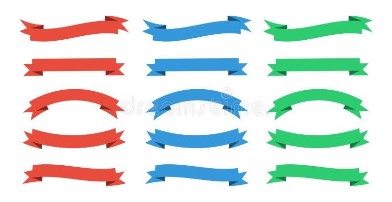 Набор знамен ленты Знамя ленты Ленты вектора красны, голубы и зелены иллюстрация штока