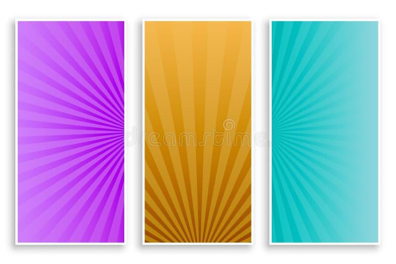 Набор знамен Sunburst лучей пустой иллюстрация штока