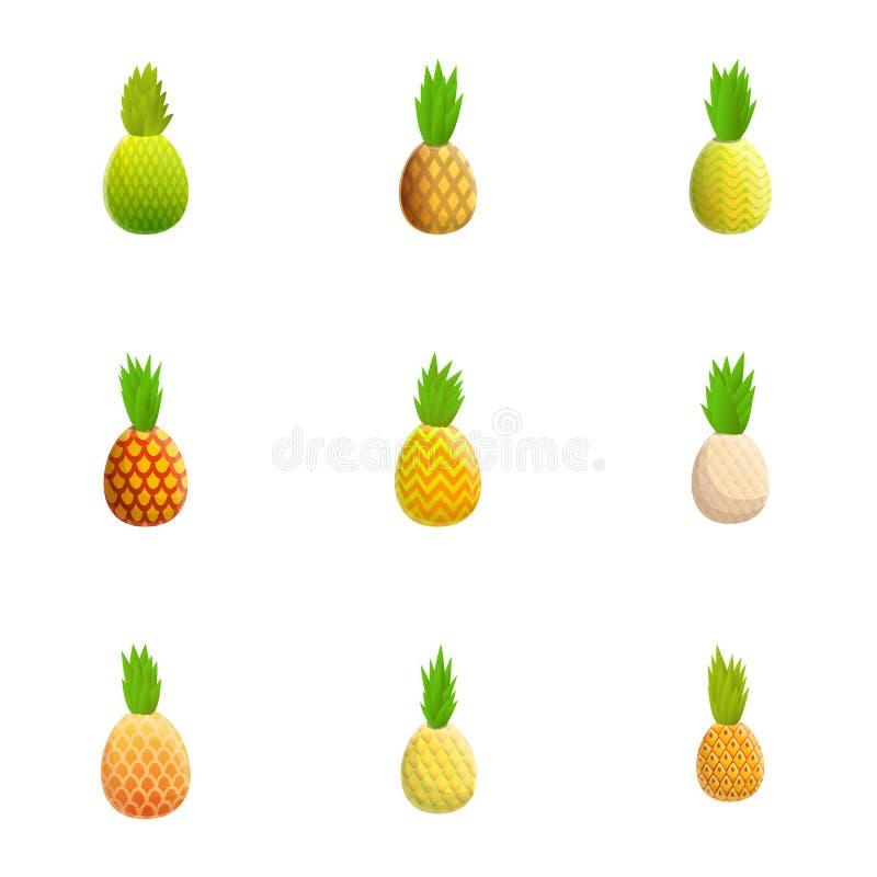 Набор значка ананаса, стиль мультфильма бесплатная иллюстрация