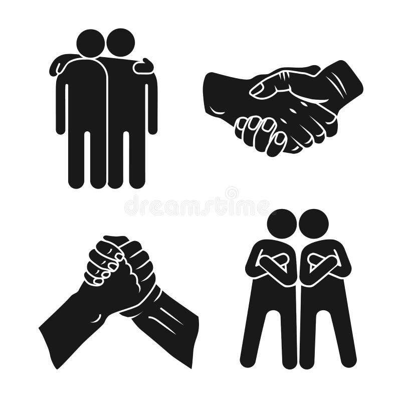 Набор значка братства, простой стиль иллюстрация штока