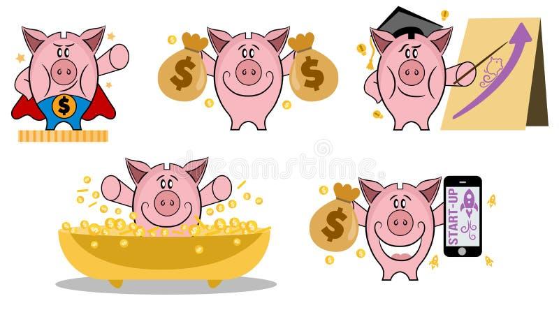 Копилка в различном действии Установите копилки в различных ситуациях Делать концепцию денег Набор значка вектора копилки Соберит иллюстрация вектора