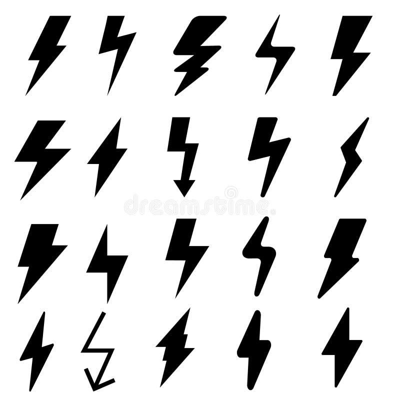 Набор значка вектора удара молнии значки иллюстрации забастовки без предупреждения бесплатная иллюстрация