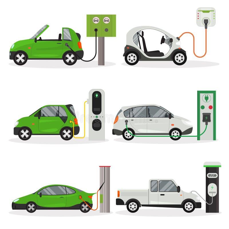 Набор значка дизайна электрического автомобиля мультфильма различный вектор иллюстрация вектора