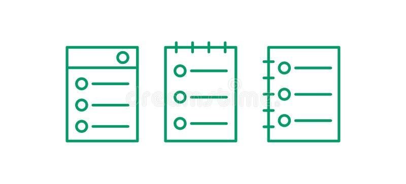 Набор значка интернет-страницы Редактируйте линию логотип Illustation вектора примечания иллюстрация вектора
