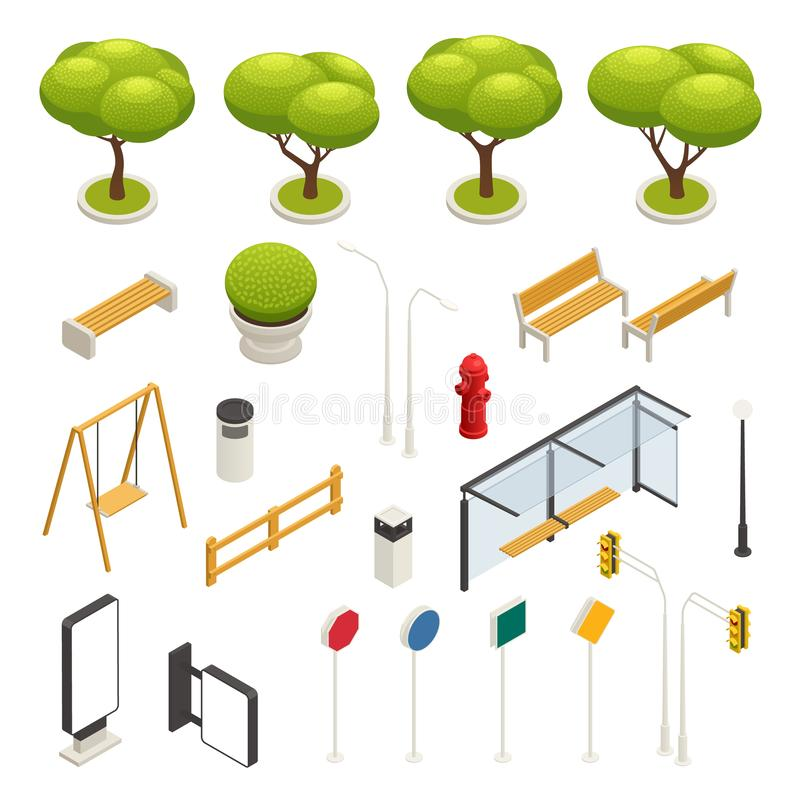 Набор значка конструктора элементов карты города равновеликий иллюстрация вектора