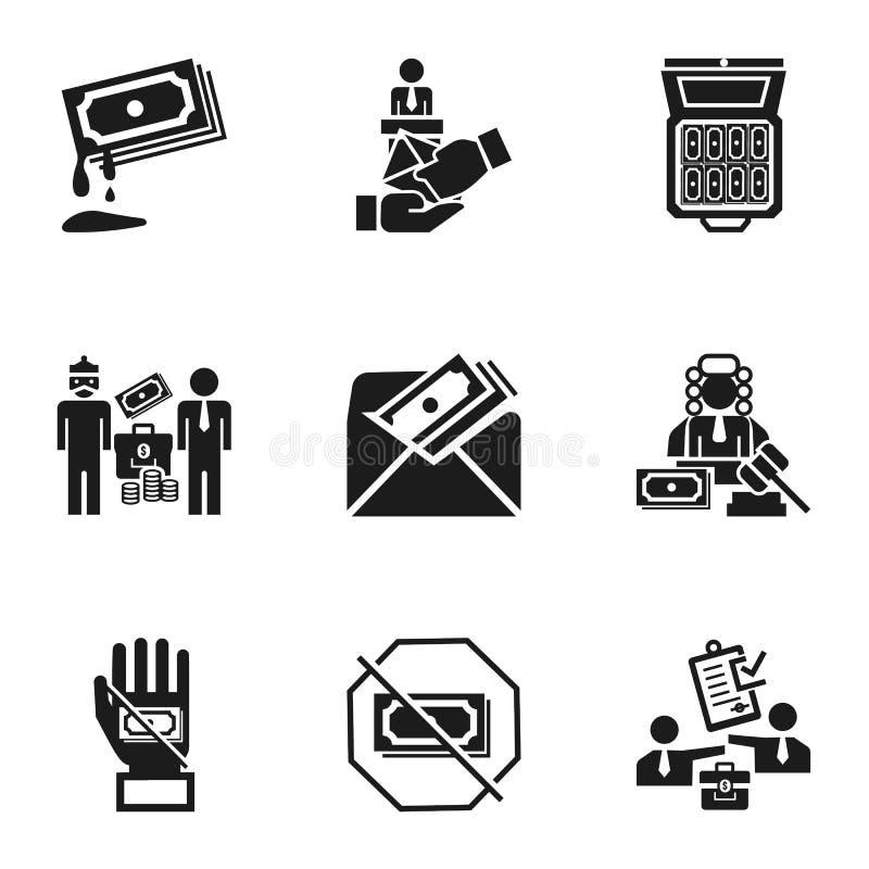 Набор значка коррупции, простой стиль бесплатная иллюстрация