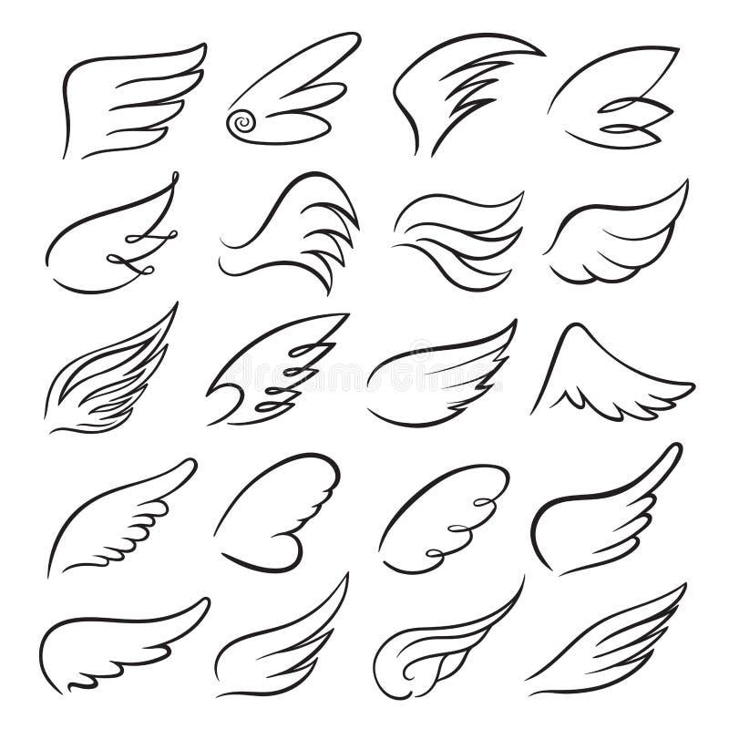 Набор значка крыльев, чертеж птицы в движении бесплатная иллюстрация