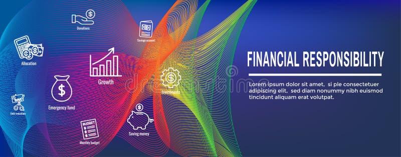 Набор значка личных финансов & ответственности - знамя заголовка сети бесплатная иллюстрация