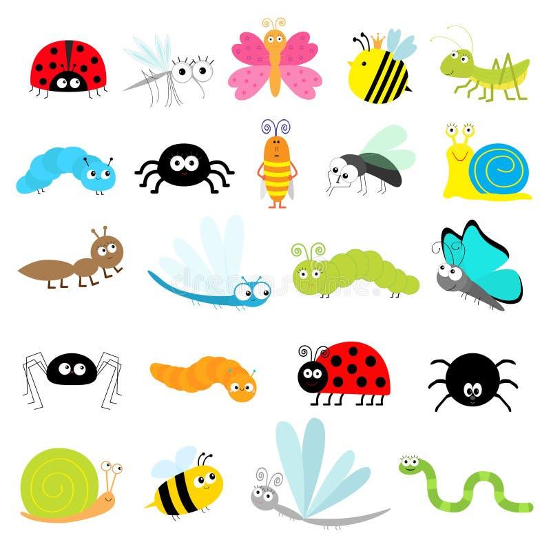 Набор значка насекомого Птица дамы муравья Dragonfly улитки мухы таракана паука гусеницы жука кузнечика пчелы бабочки москита оши иллюстрация штока
