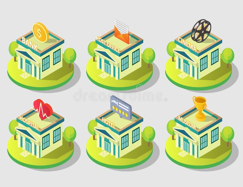 Набор значка общественного здания города вектора равновеликий иллюстрация вектора