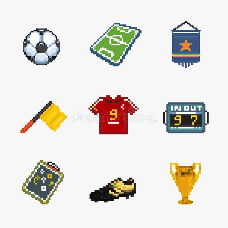 Набор значка пиксела футбола иллюстрация вектора
