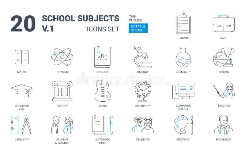 Набор значка плана вопросов школьного образования плоский бесплатная иллюстрация